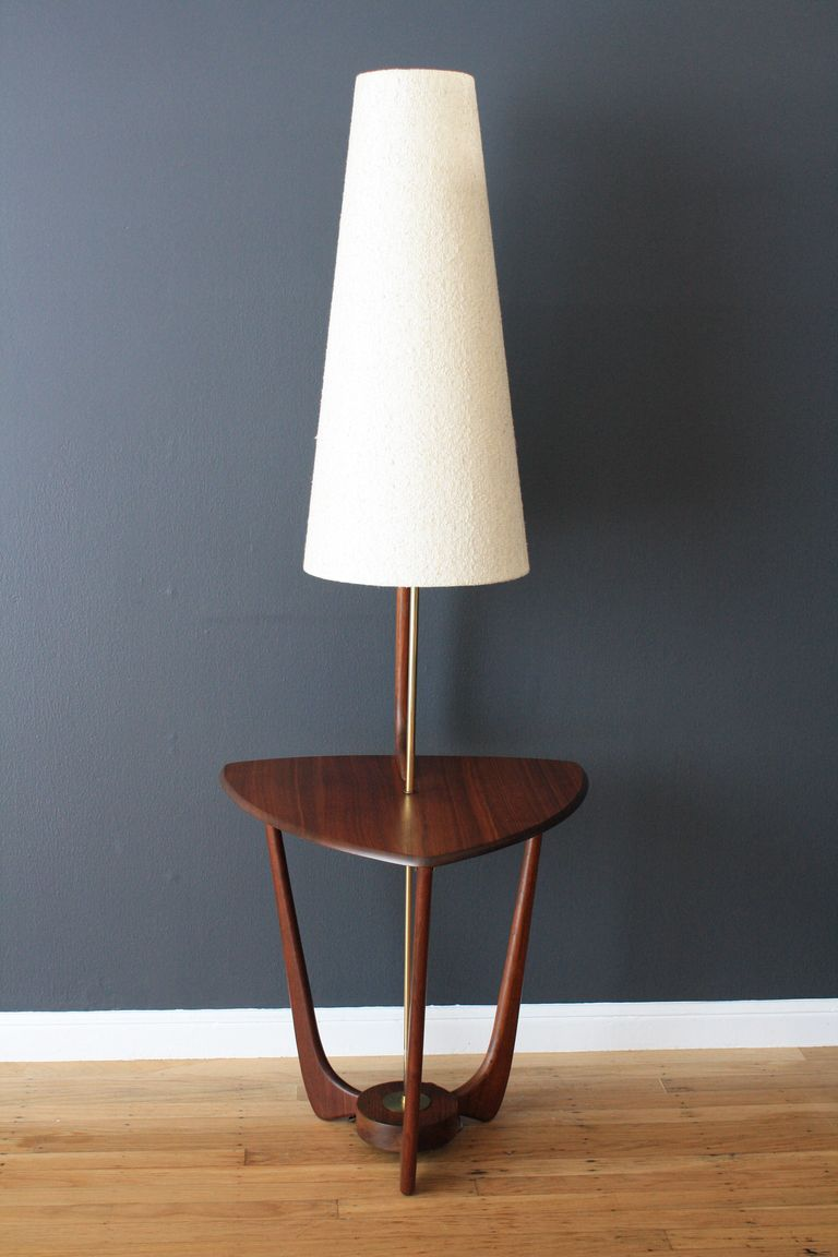 Mid Century Modern Walnut Floor Lamp with Side Table