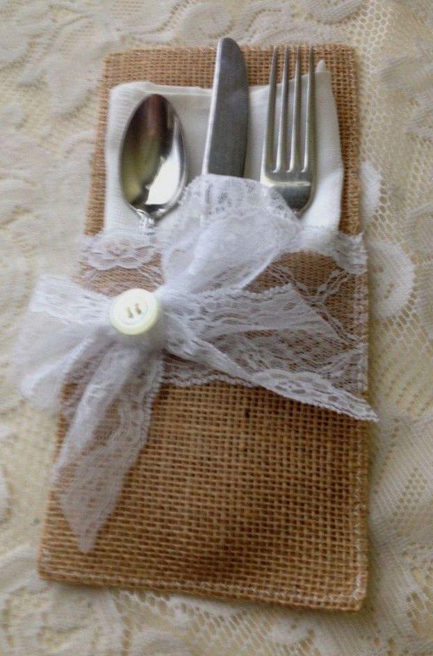 Set Of 100 Natural Burlap Lace Rustic Handmade Wedding Silverware Napkin Holder
