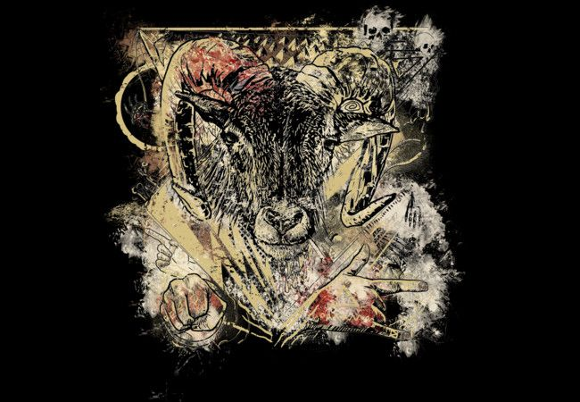 Bloody Cool Goat - Distressed Grunge Paint  Artwork T-Shirt
