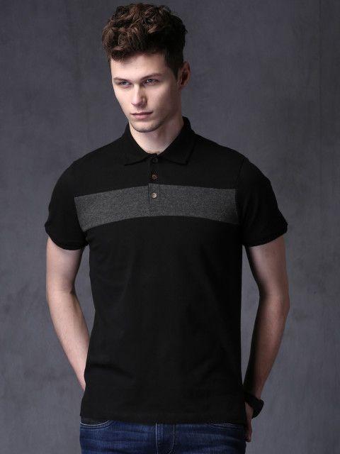 14244862730 Buy WROGN Men Black Solid Polo T Shirt - Tshirts for Men