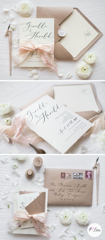 WEDDING INVITATIONS calligraphy | Kraft paper, Weddingideas and Romantic