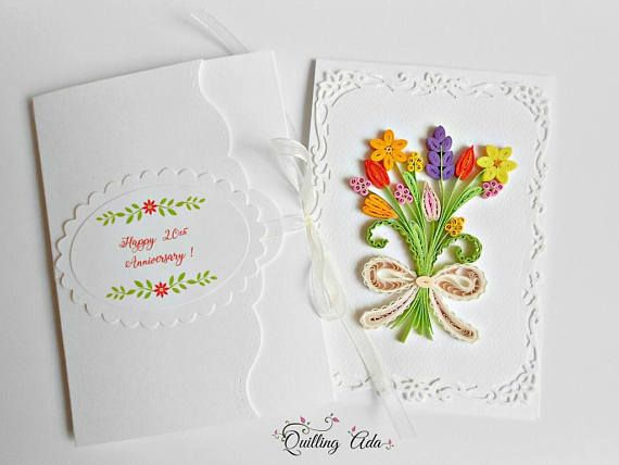 Personalised card quilling flowers card anniversary card personalised card quilling flowers card anniversary card birthday card spring card m4hsunfo