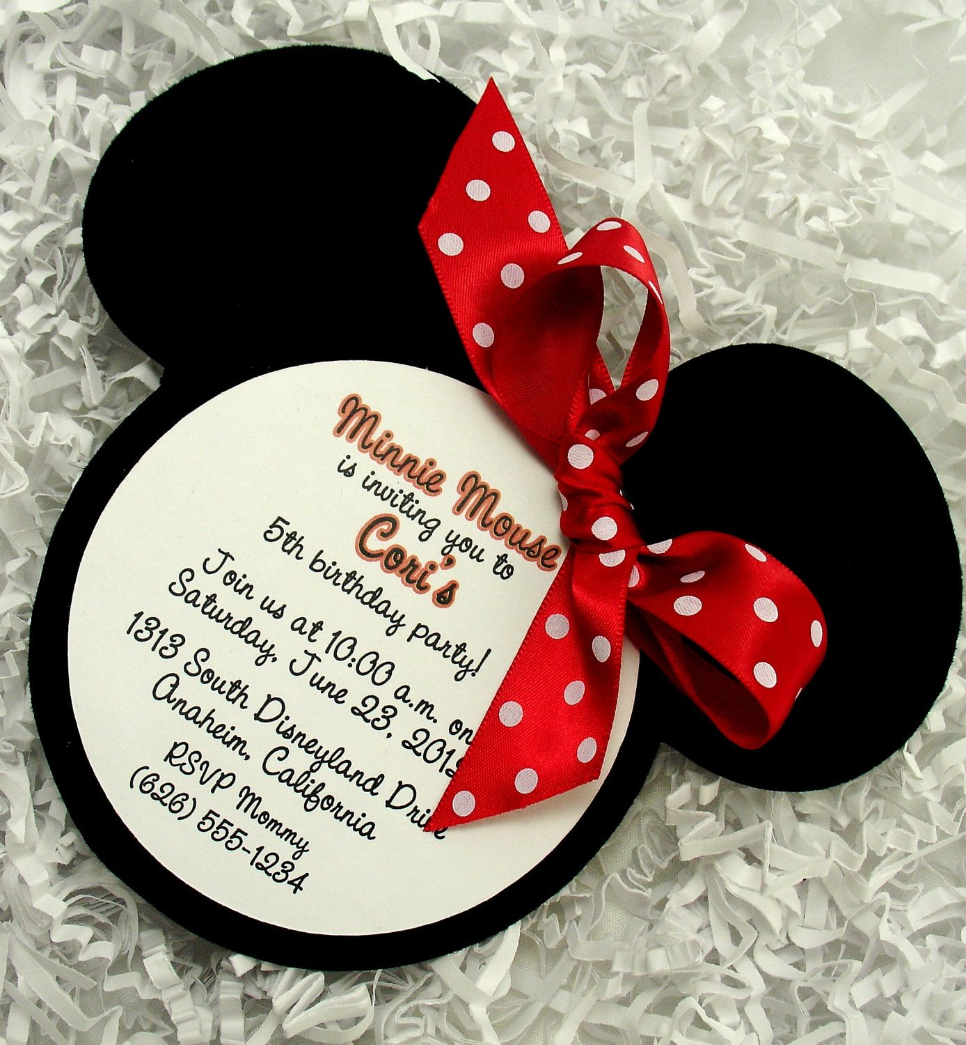 Minnie Mouse Invitations Red Handmade Velvet Die By Adorabletree