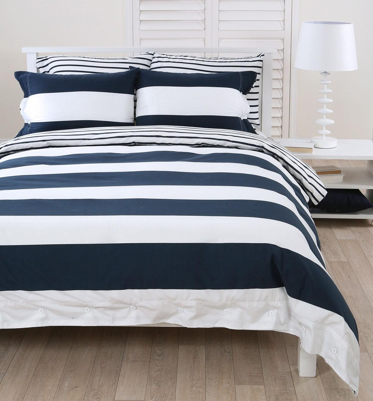 Navy White Striped Duvet Cover In Love With Our New Bedroom