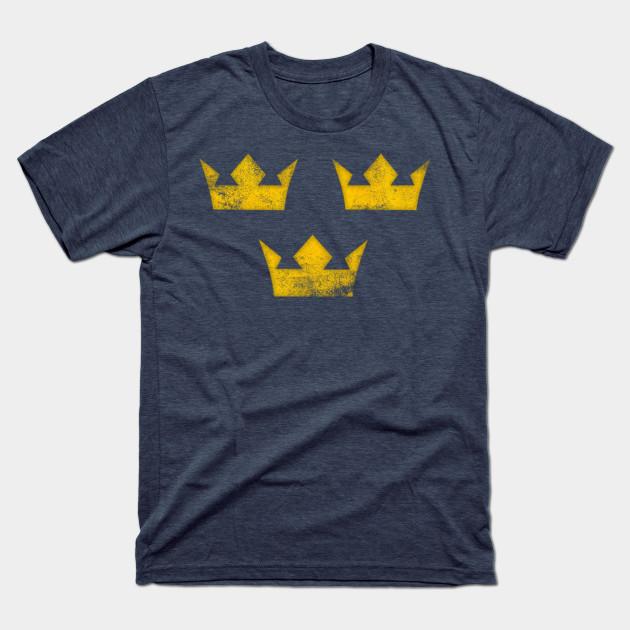 Sweden Tre Kronor Three Crowns Vintage Retro Distressed Sweden T Shirt Teepublic In 2020