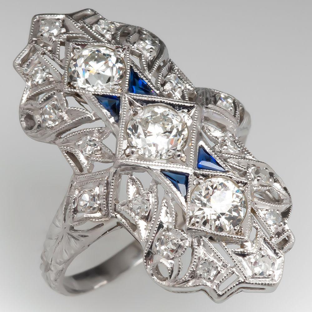 1920s antique dinner ring old euro diamonds platinum
