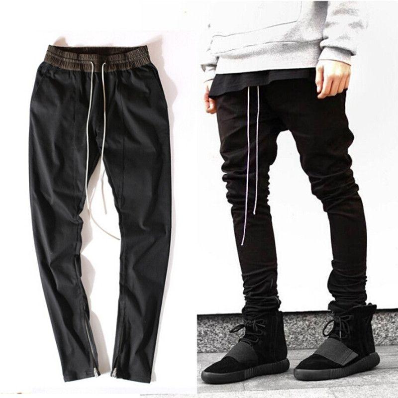 aa96c1de22456 NEW Hip Hop Men Ankle Zipper Pants Justin Bieber Kanye West Drop Crotch  Punk Pants Cotton Rap Mens Black Joggers Pants