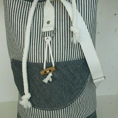 95828c122c Sac paquetage marin bleu blanc uni/rayé en jean   Sacs   Sac ...