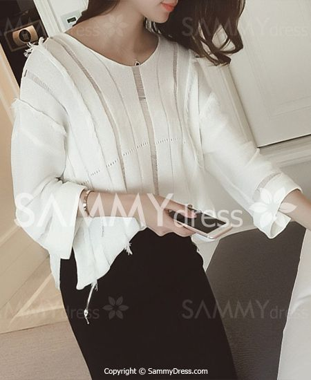 Graceful V-Neck 3/4 Sleeve Cut Out Ripped Knitwear For Women