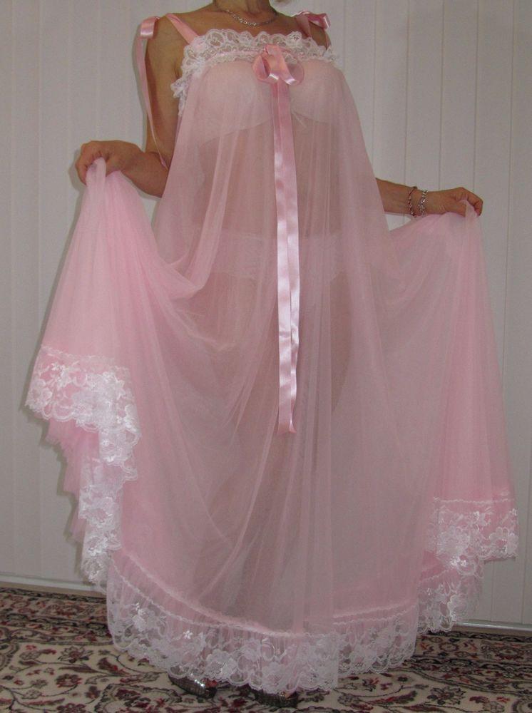 Sheer Nightie 3X Plus Size Hot Pink Ruffles Vintage Lingerie