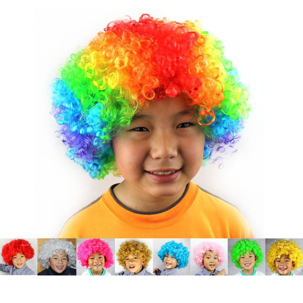 AFRO WIG CURLY PARTY 1970S DISCO CLOWN FUNKY COSTUME KIDS GIRL HAIR MULTICOLOUR