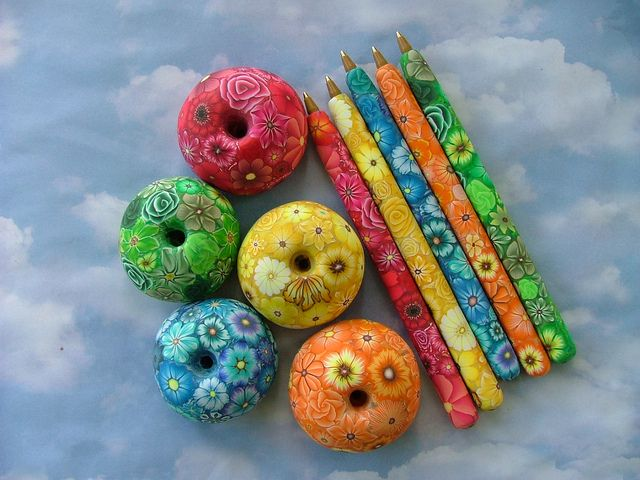 Millefiori Pens with Bases by polymerclaycreations, via Flickr