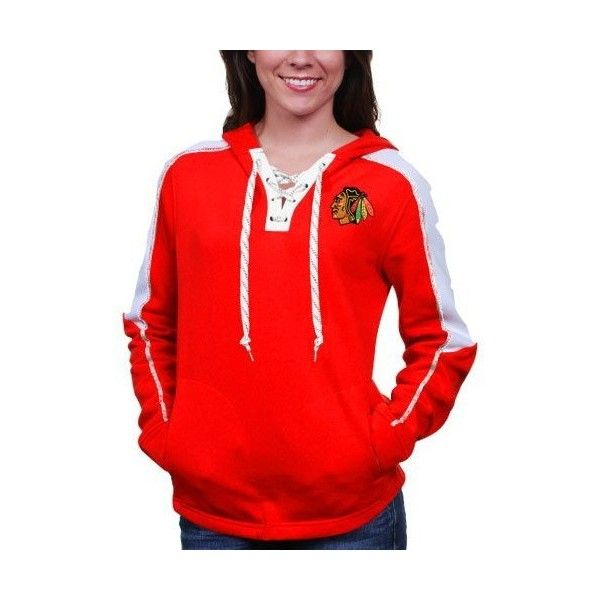 Chicago Blackhawks Women's Red Reebok Face Off Lace Up Pullover Hooded Sweatshirt ($65) found on Polyvore