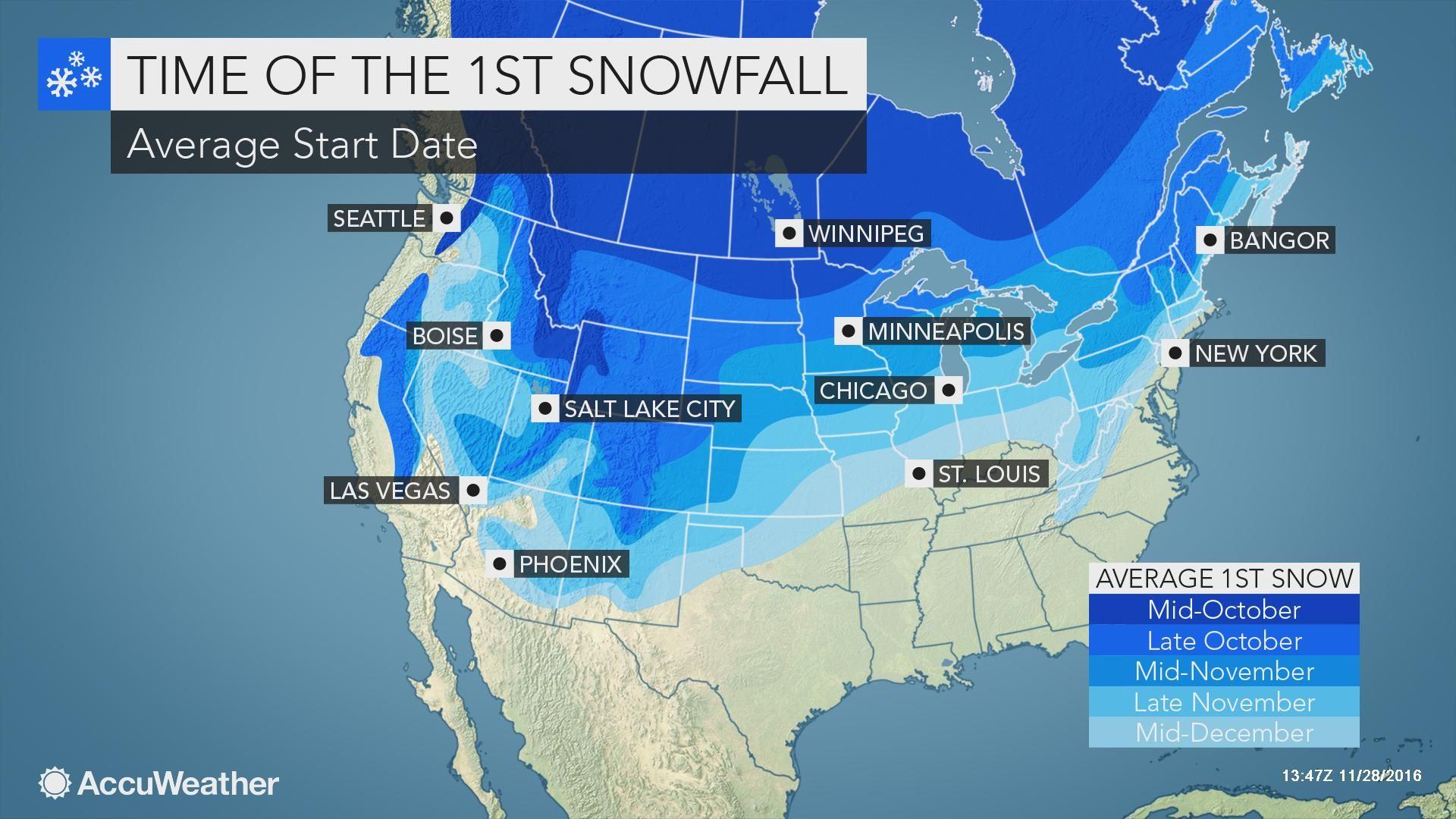 Via AccuWeather WeatherWhys The first measurable snowfall