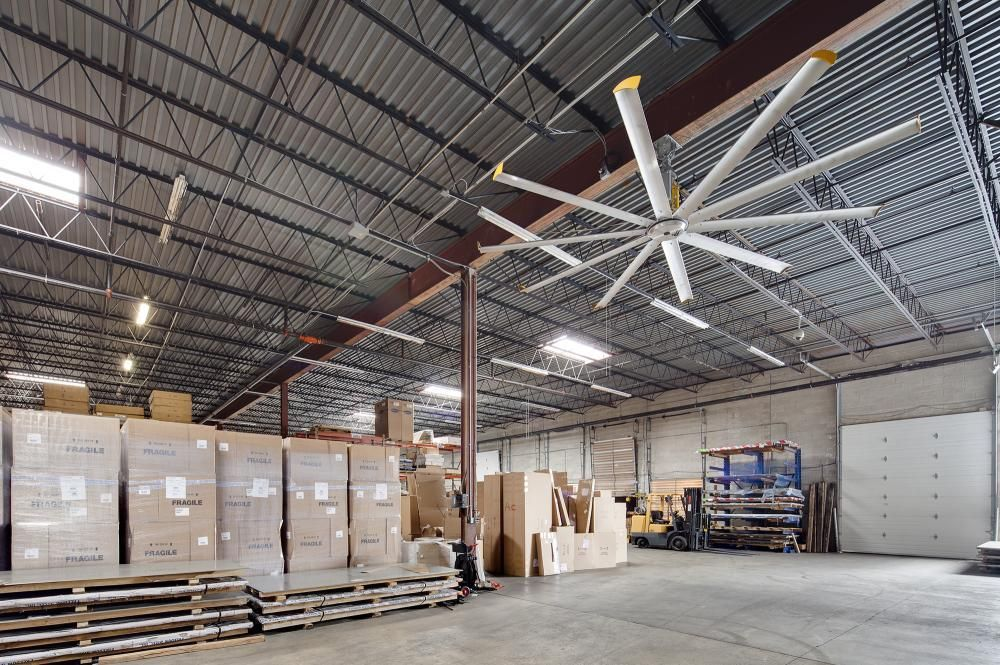 Warehouse and distribution center ceiling fans big ass fans warehouse ceiling fans from big ass fans can save you up to on energy bills aloadofball Choice Image