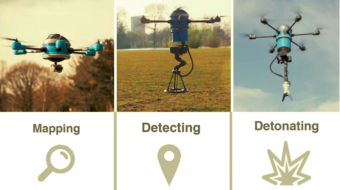 Thousands of people are killed by land mines each year.  This drone not only locates land mines, but also detonates them. #Happonomy