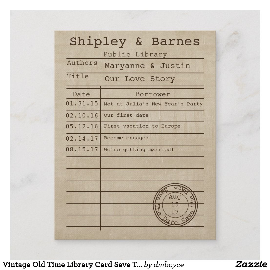 Vintage Old Time Library Card Save The Date Zazzle Com Vintage Library Library Card Vintage Save The Dates