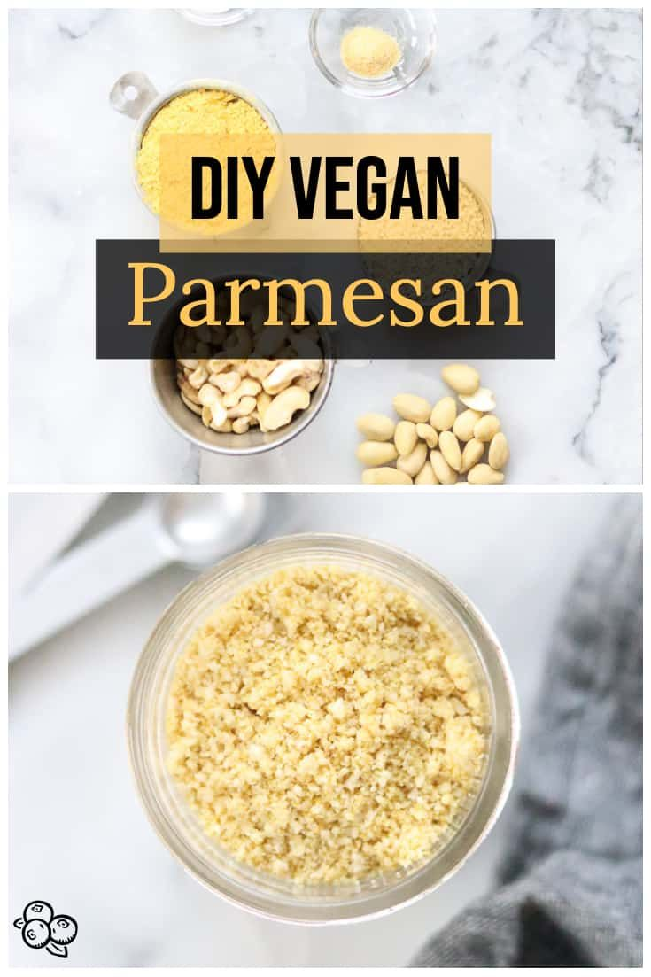 Vegan Parmesan Cheese Make your own grated style vegan parmesan cheese from cashews, almonds, and sesame seeds in a food processor in just a couple of minutes!!  Nut-free option available.