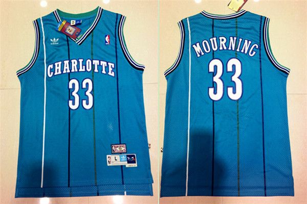 NBA Charlotte Hornets Alonzo Mourning Swingman Jersey    33 Adidas Light  Blue Throwback Mens 330598c3c