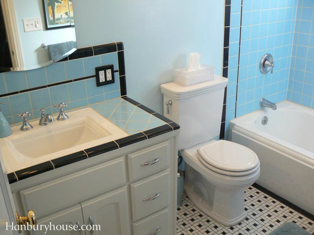 Blue And Black Vintage 1940 S Bathroom With Pinwheel Tile Floor