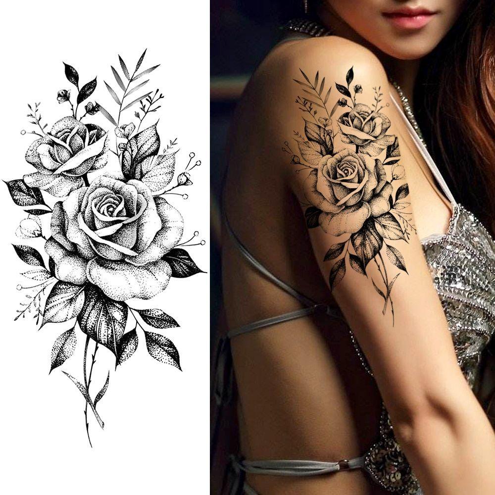 Photo of Purple Rose Jewelry Water Transfer Tattoo Stickers Women Body Chest Art Temporary Tattoo Girl Waist