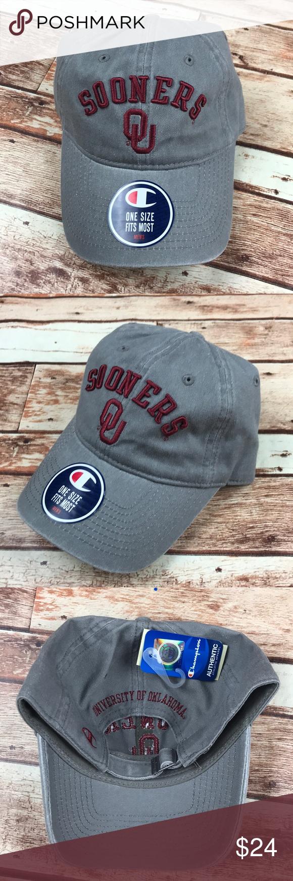 OU Oklahoma Sooners Gray Dad Strap Baseball Hat University of Oklahoma  Sooners gray adjustable fit baseball cap hat. Brand  Champion Size  One  size fits ... 9e81e9e65e27