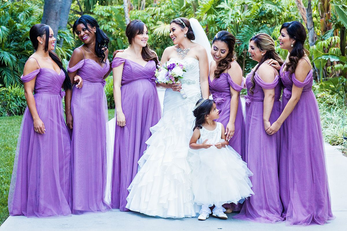 How charming are these purple bridesmaids dresses? i would love them ...