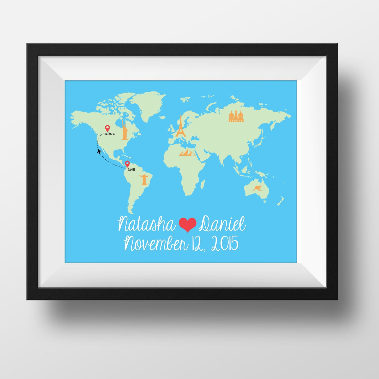 World Map Wedding Gift Custom