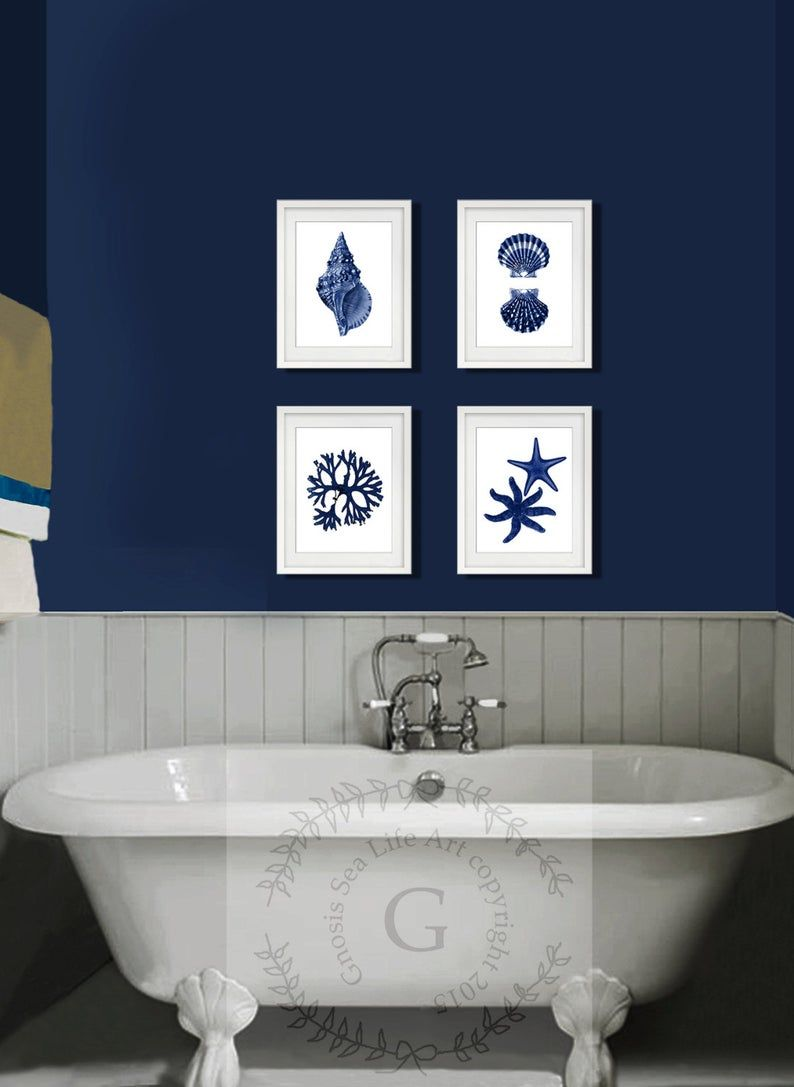 Coastal Wall Decor Navy Blue Sea Shells Starfish Set Of 4 Etsy In 2020 Coastal Wall Decor Navy Bathroom Decor Blue Bathroom Decor