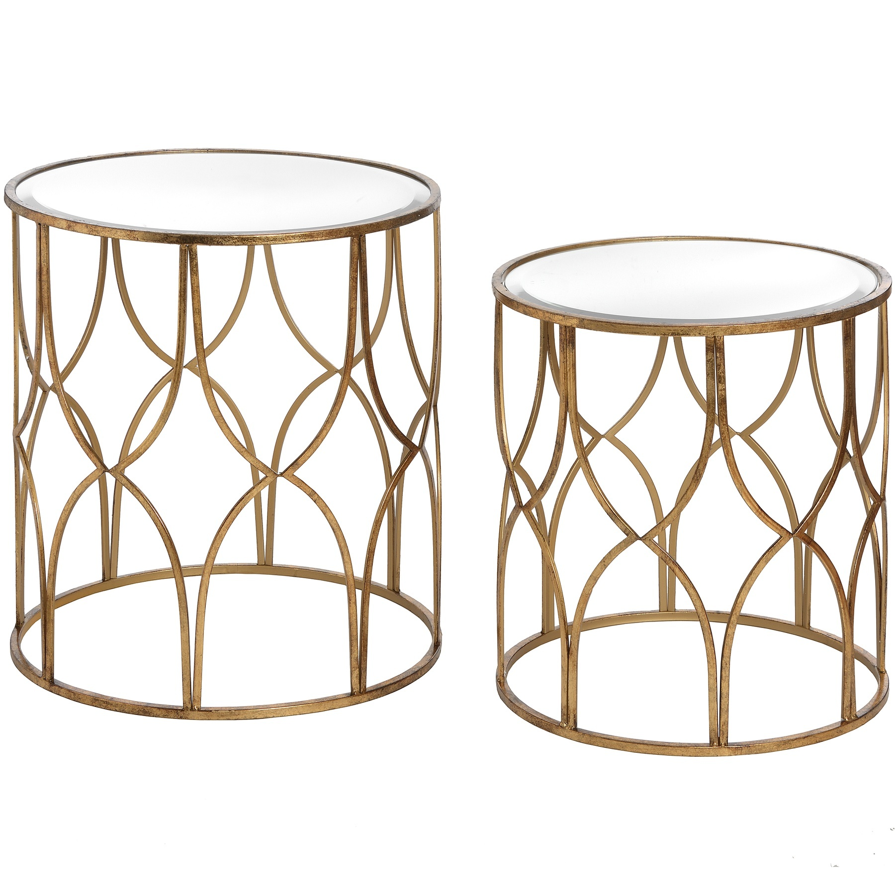 Vintage Styled Gold Lattice Round Set Of 2 Side Tables Nest