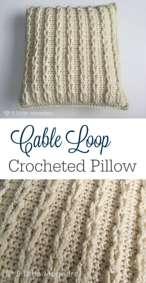 This cable crochet pillow look so comfy and cozy, perfect for fall ...