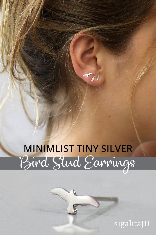 39ca372c2 Best second hole earrings ever! Minimalist tiny silver stud earrings in a  dainty bird design