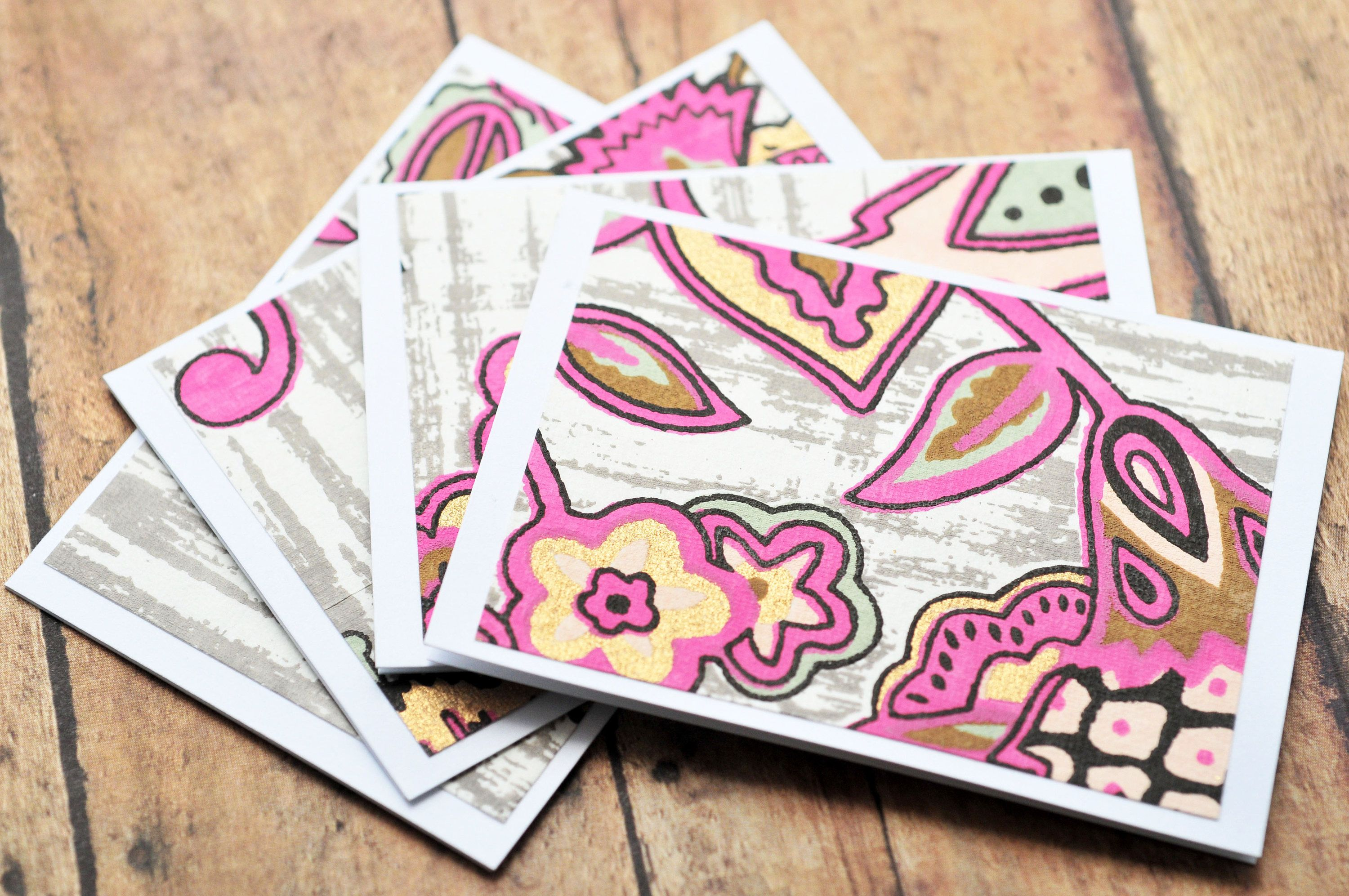 Pink & Gray Floral Mini Cards // Set of 4 // Blank Cards ...