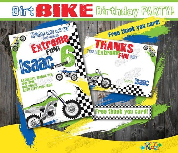 Dirt Bike Birthday Invitation DIY Party Printable Invite Bi