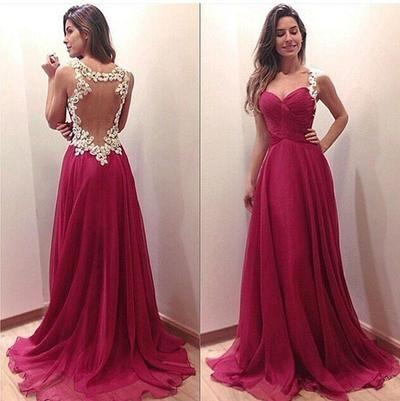 Amazing A-line Lace Evening Dress, Long Prom Dresses,105