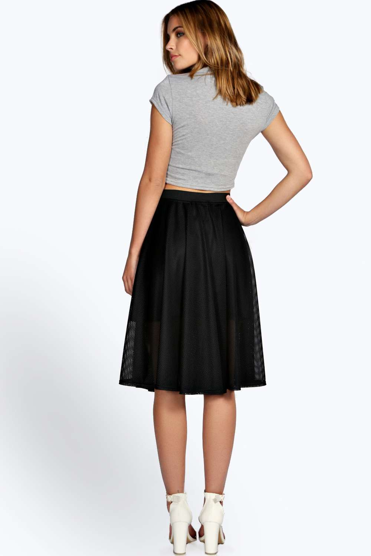 Allie Mesh Lined Midi Skater Skirt at boohoo.com | toBUY ...
