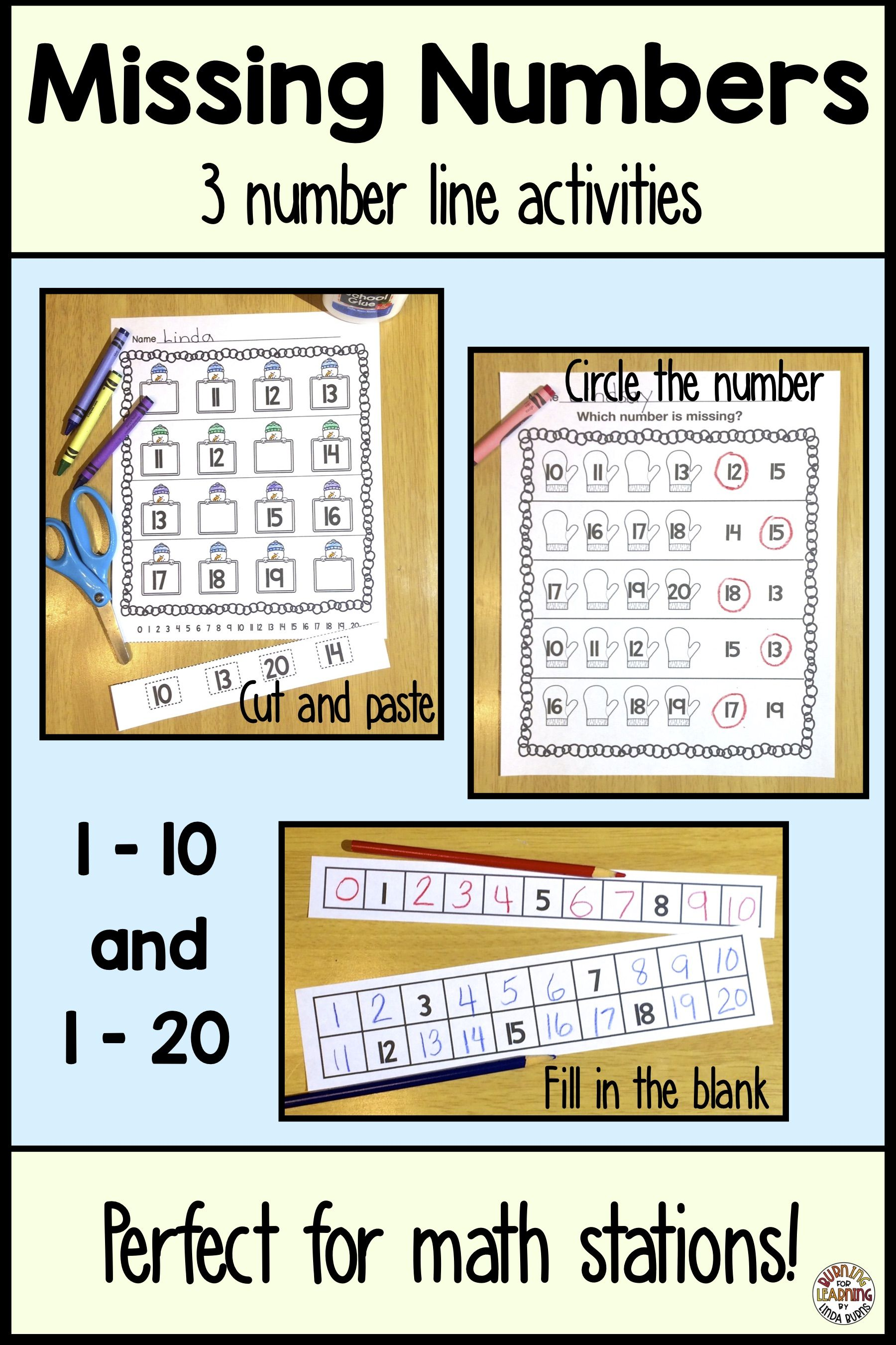 Missing Numbers On A Number Line Worksheets