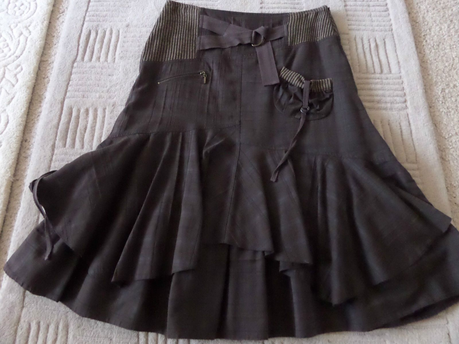 5ee71c6741a 14 LISA CAMPIONE FABULOUS CHOCOLATE BROWN CHECK SKIRT LAGENLOOK HITCH BUSTLE  in Clothes