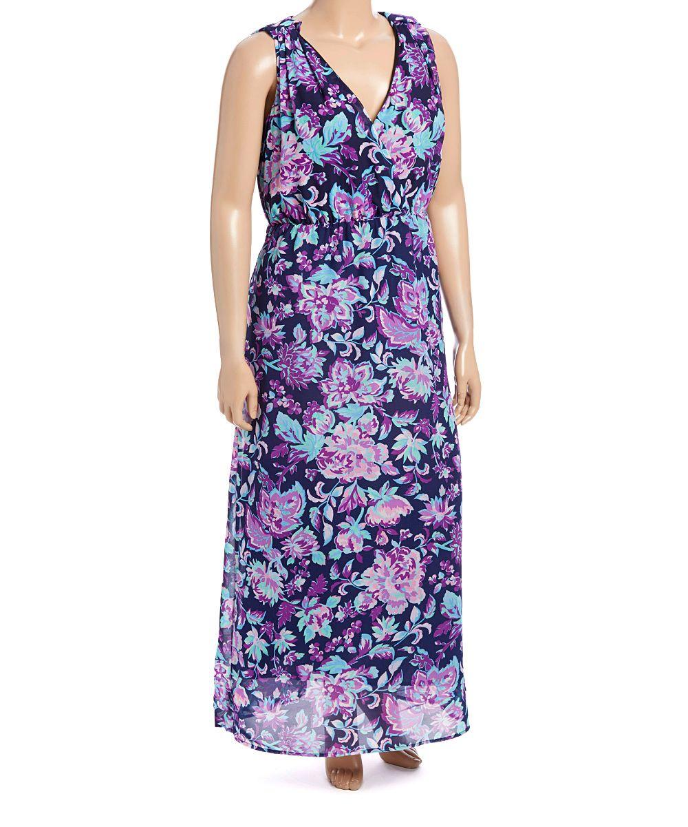 Blue & Purple Floral Maxi Dress - Plus