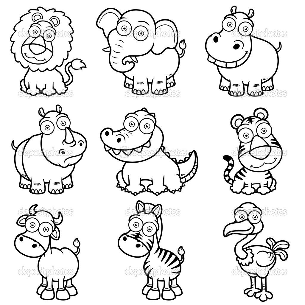 dessin animaux de la jungle en noir et blanc à imprimer - Google
