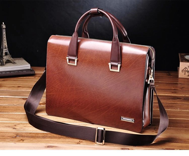 PILAEO Attractive Genuine Mens Leather Business Brown Bag | www ...