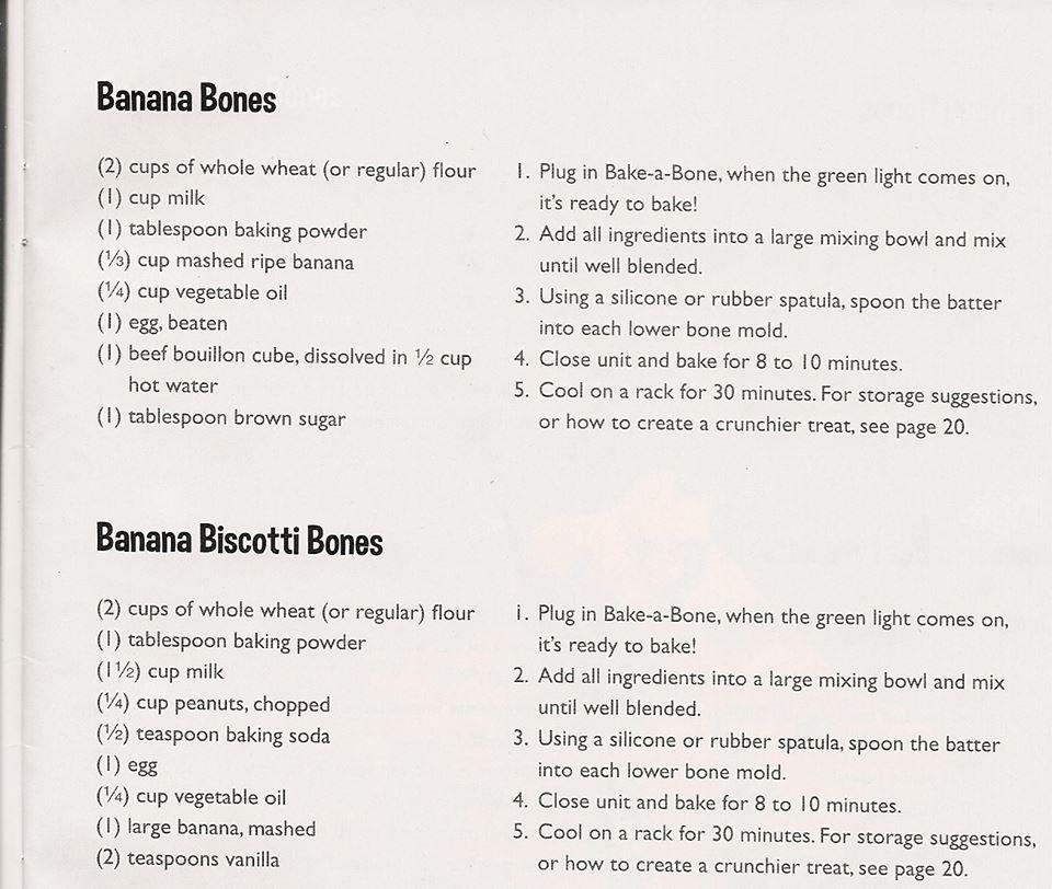 Two Kinds Of Banana Bones Dog Treats Homemade Recipes Dog