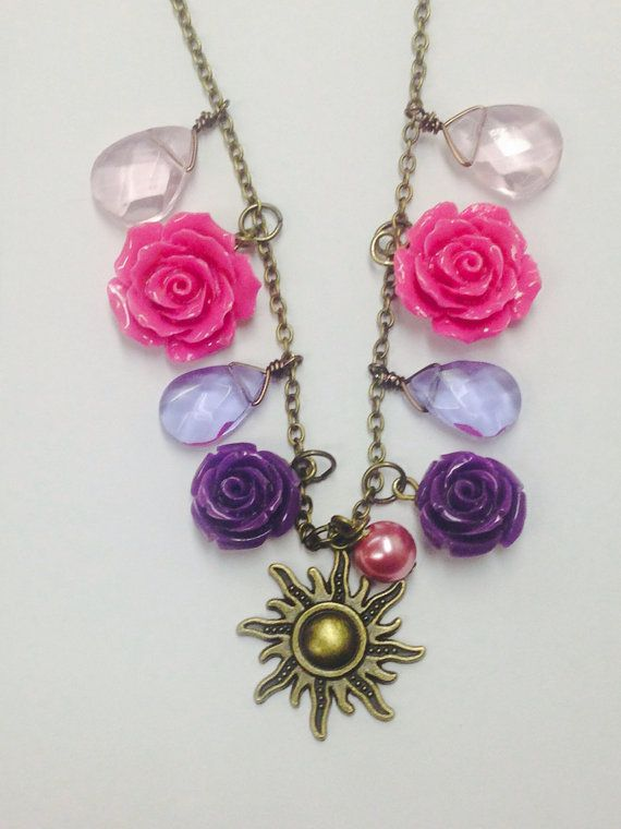 Tangled Rapunzel Inspired Necklace Pink and Purple Crystals with Hand carved stone roses and antique gold sun charm Disney Wedding Disney Princess Disney Jewelry Rapunzel Tangled Disney Tangled Disney Cosplay Disneybound