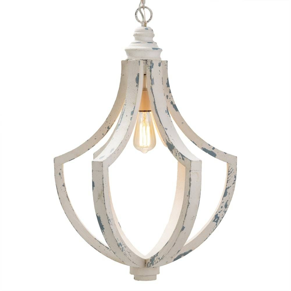 Delphine Distressed White Wood Pendant In 2021 Wood And Metal Chandelier Wood Pendant Light Kitchen Pendant Lights Wood