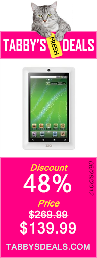 Creative ZiiO 16 GB 7-Inch Android 2.2 Wireless Entertainment Tablet (White) $139.99