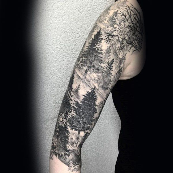 75 Tree Sleeve Tattoo Designs For Men Ink Ideas With Branches Nature Tattoo Sleeve Snow Flake Tattoo Tree Sleeve
