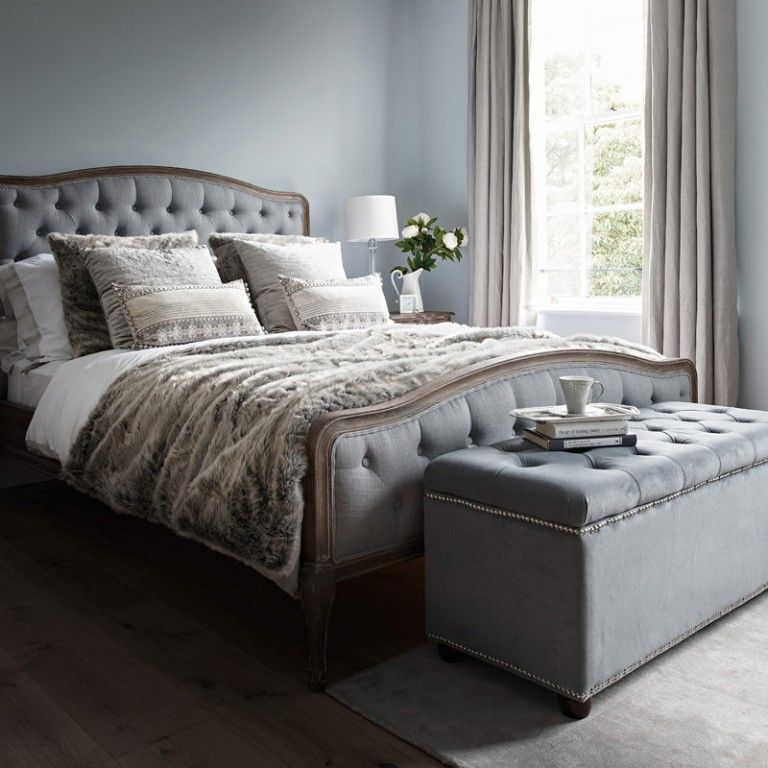 Chantal Bed Super King Size Grey Linen Bed Linens Luxury Grey