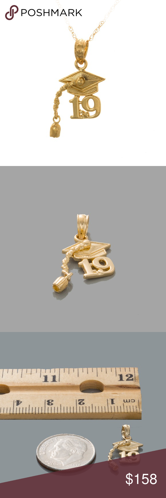 10k Gold 20 Graduation Cap Dangling Tassel Charm Tassel Charm Graduation Charms Beautiful Gold Necklaces