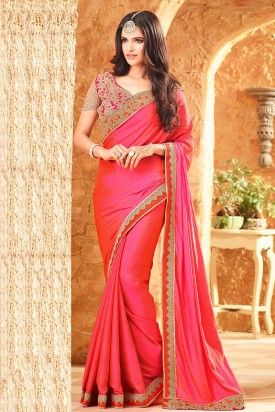 94772105916ab5 Divine Pink Crepe Silk Heavy Lace Border Saree With Designer Blouse ...