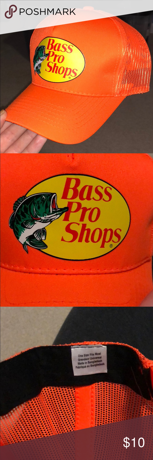 fa53111379d42 Neon orange Bass Pro Shops trucker hat Photos showing condition and style Bass  Pro Shops Accessories Hats
